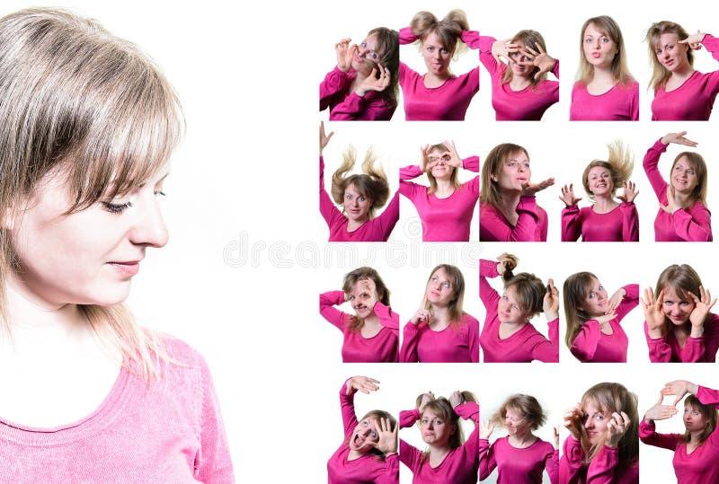 Collage des portraits d'une fille Différentes émotions images libres de droits