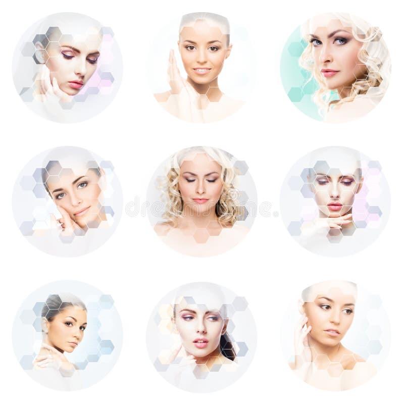 Collage des portraits femelles Visages sains des jeunes femmes Station thermale, levage de visage, concept de collage de chirurgi image stock