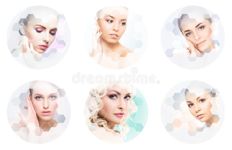Collage des portraits femelles Visages sains des jeunes femmes Station thermale, levage de visage, concept de collage de chirurgi photo libre de droits