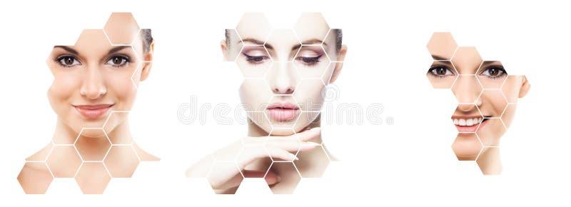 Collage des portraits femelles Visages sains des jeunes femmes Station thermale, levage de visage, concept de collage de chirurgi photographie stock