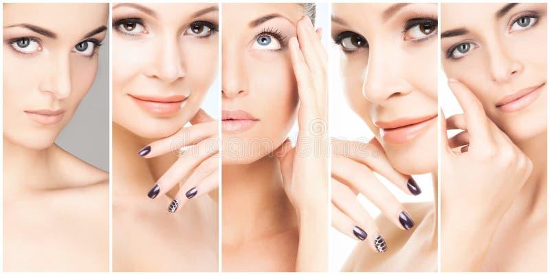 Collage des portraits femelles Visages sains des jeunes femmes Station thermale, levage de visage, concept de chirurgie plastique photos libres de droits