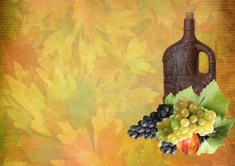 Collage des raisins et d'une bouteille de vin pour le thanksgiving images stock