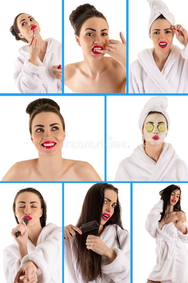 Collage des Schönheitsgesichtes lizenzfreie stockbilder
