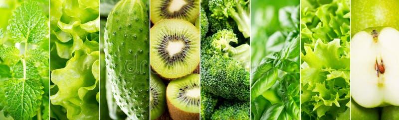 Collage des verschiedenen grünen Lebensmittels stockfotos