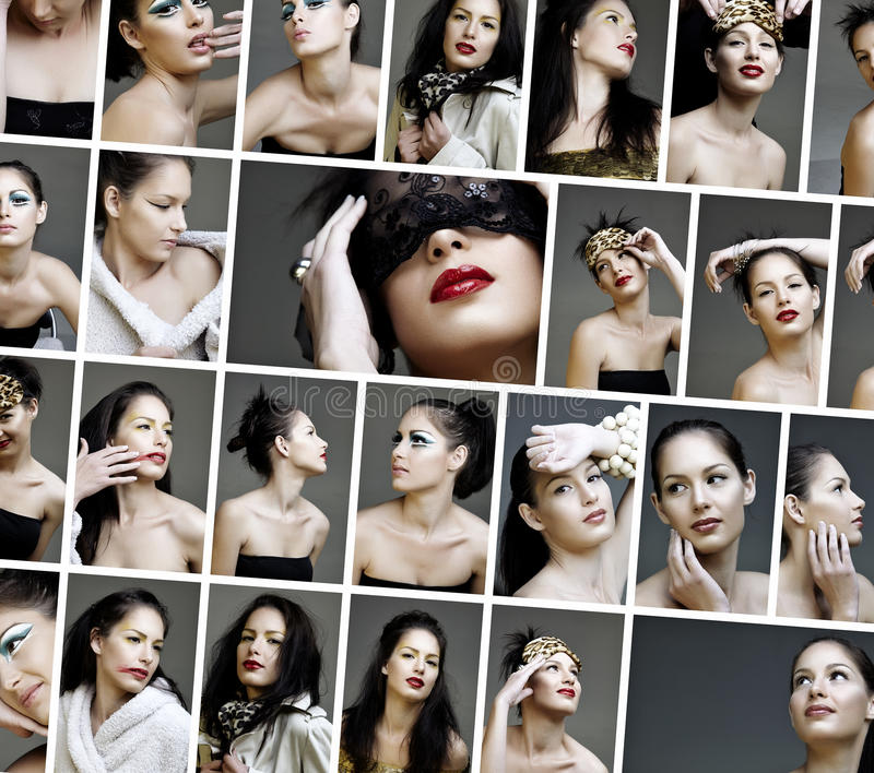 Collage des visages de renivellement de mode de beauté illustration de vecteur