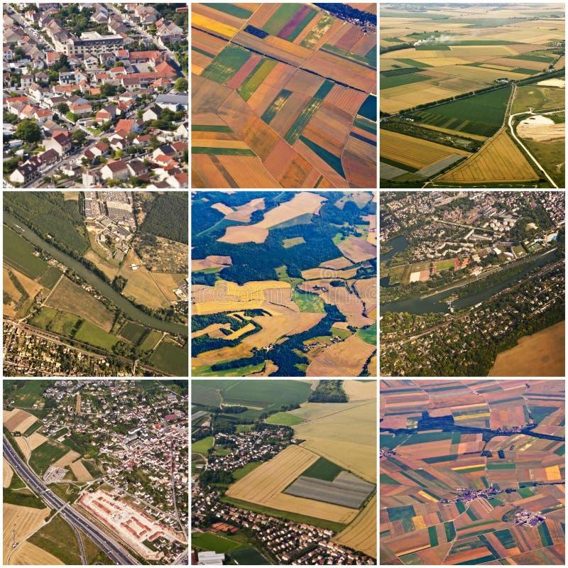 Collage des vues aériennes de région de Paris photos libres de droits
