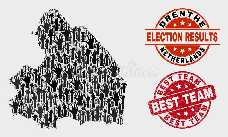 Collage des Wahl-Drenthe-Provinz-Karten-und Schmutz-Besten Team Stamp Seal lizenzfreie abbildung