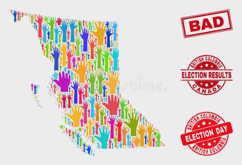 Collage des Wahlbritisch-columbia zeichnen und verkratztes schlechtes Stempelsiegel auf lizenzfreie abbildung