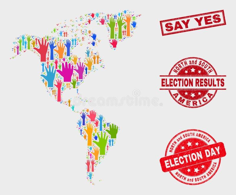 Collage des Wahlsüdens und der Nordamerika-Karte und Bedrängnis sagen ja Wasserzeichen vektor abbildung