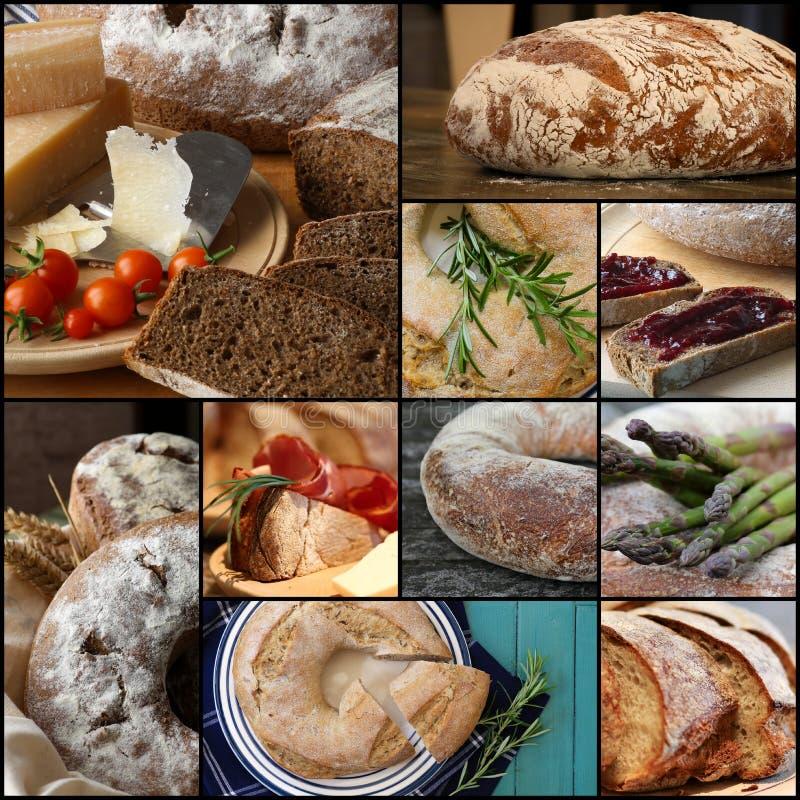Collage determinado de Rye del estilo rural del pan integral del pan fotos de archivo libres de regalías