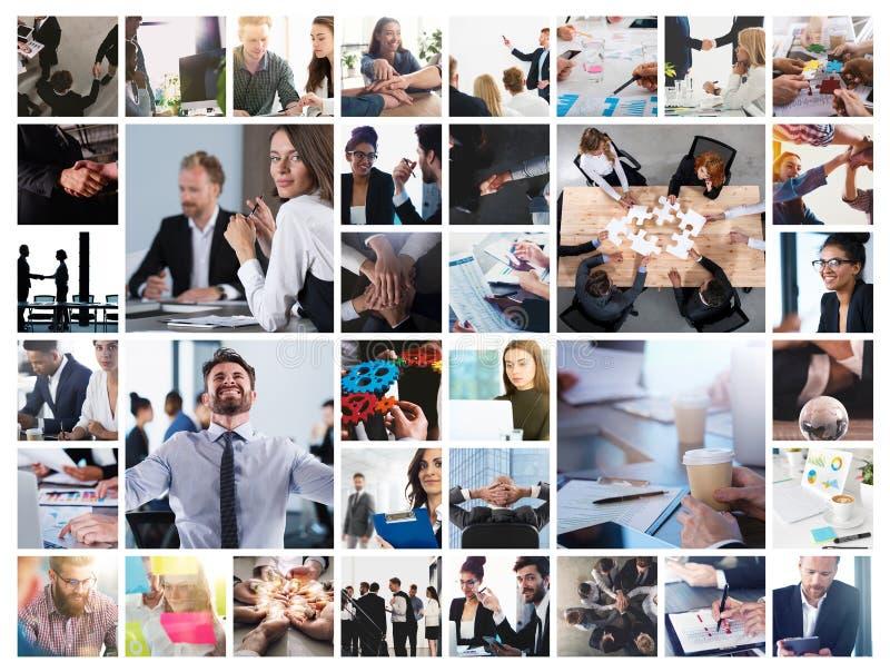 Collage di affari con la scena dell'uomo d'affari sul lavoro fotografia stock