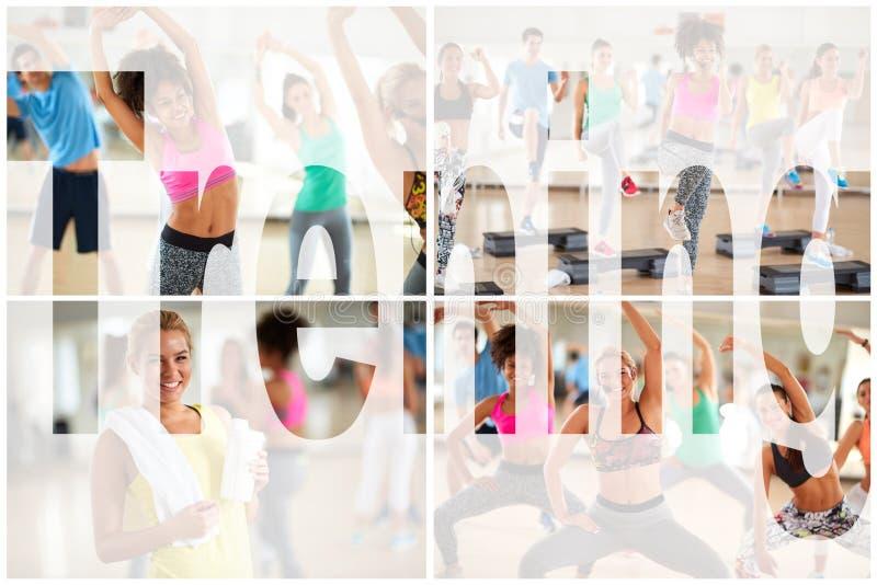 Collage di allenamento di forma fisica di addestramento fotografie stock libere da diritti