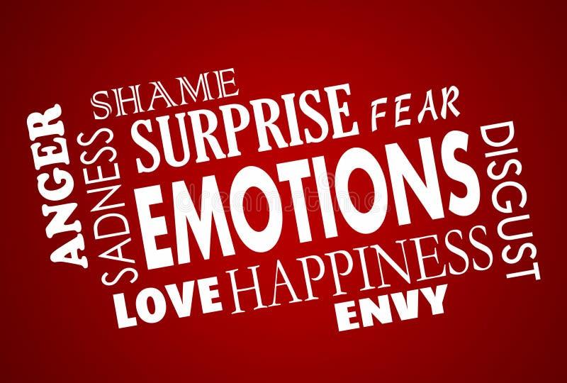 Collage di amore di rabbia di Sadess di felicità di emozioni illustrazione vettoriale