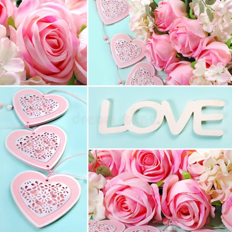 Collage di amore nei colori pastelli fotografia stock