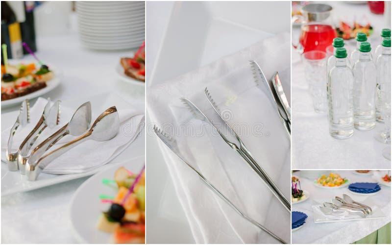 Collage di approvvigionamento di nozze - alimento e terrecotte per la cena di ripetizione fotografia stock libera da diritti