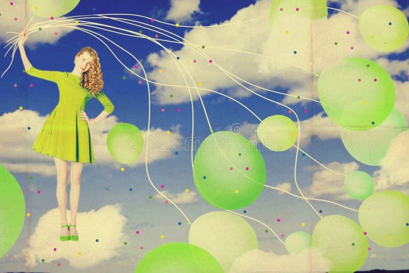 Collage di arte con la bella donna, lavoro creativo fotografia stock