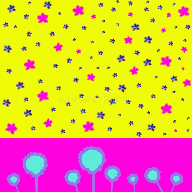 Collage di arte contemporanea con la bella orchidea blu e rosa su fondo astratto variopinto fotografia stock libera da diritti