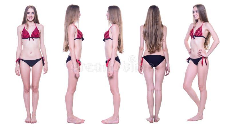 Collage di bella donna in bikini da tutti i lati fotografie stock
