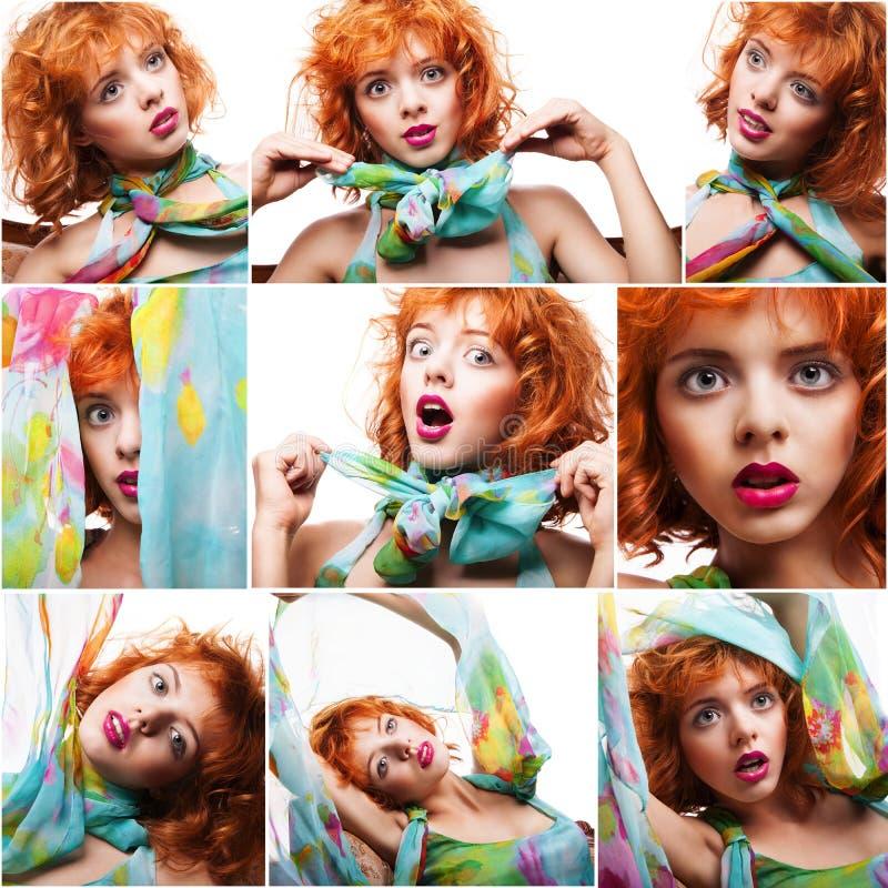 Collage di bella giovane donna rossa dei ritratti isolata fotografia stock libera da diritti