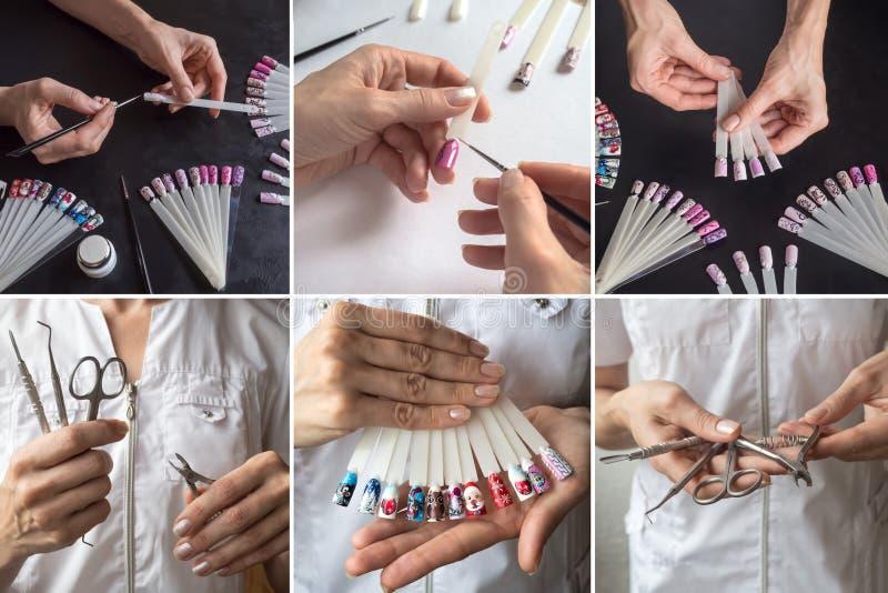 Collage di bellezza con le punte ed il manicure immagini stock