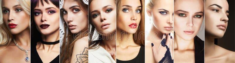 Collage di bellezza Fronti delle donne fotografia stock