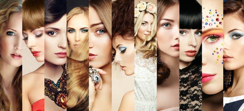 Collage di bellezza. Fronti delle donne fotografia stock libera da diritti