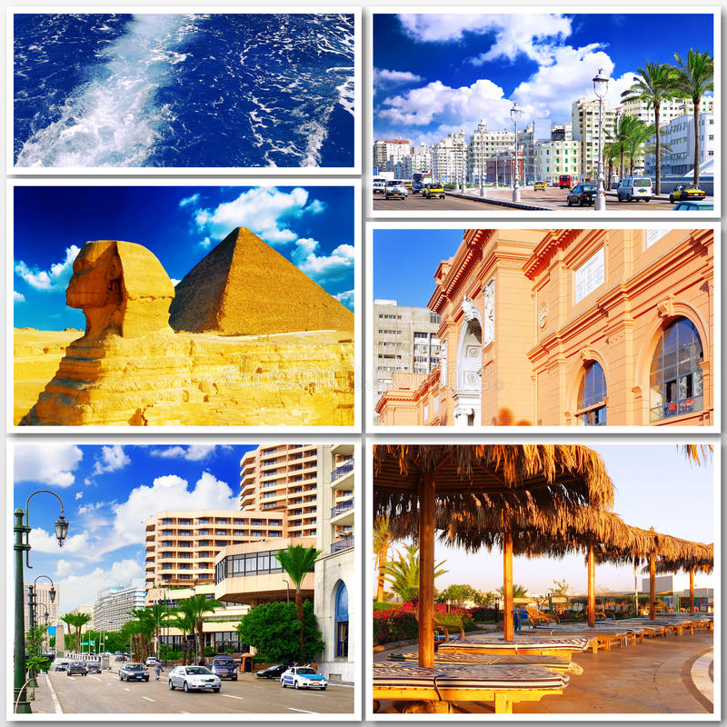 Collage di bello Egitto l'africa fotografia stock