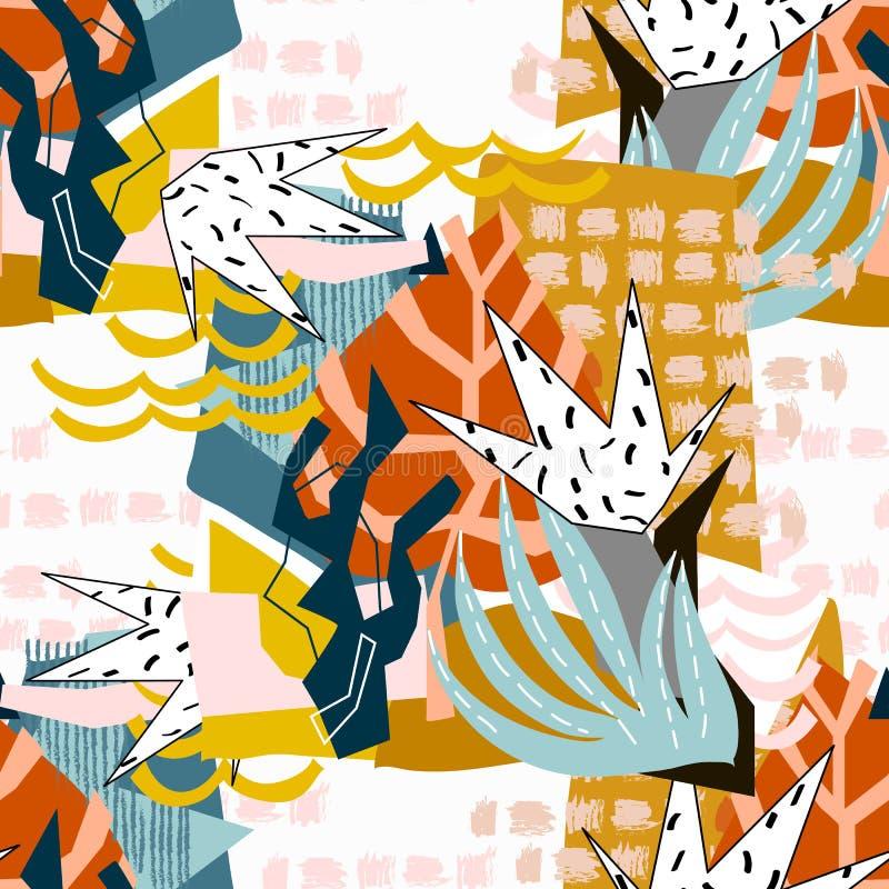Collage di carta degli elementi floreali astratti fotografia stock