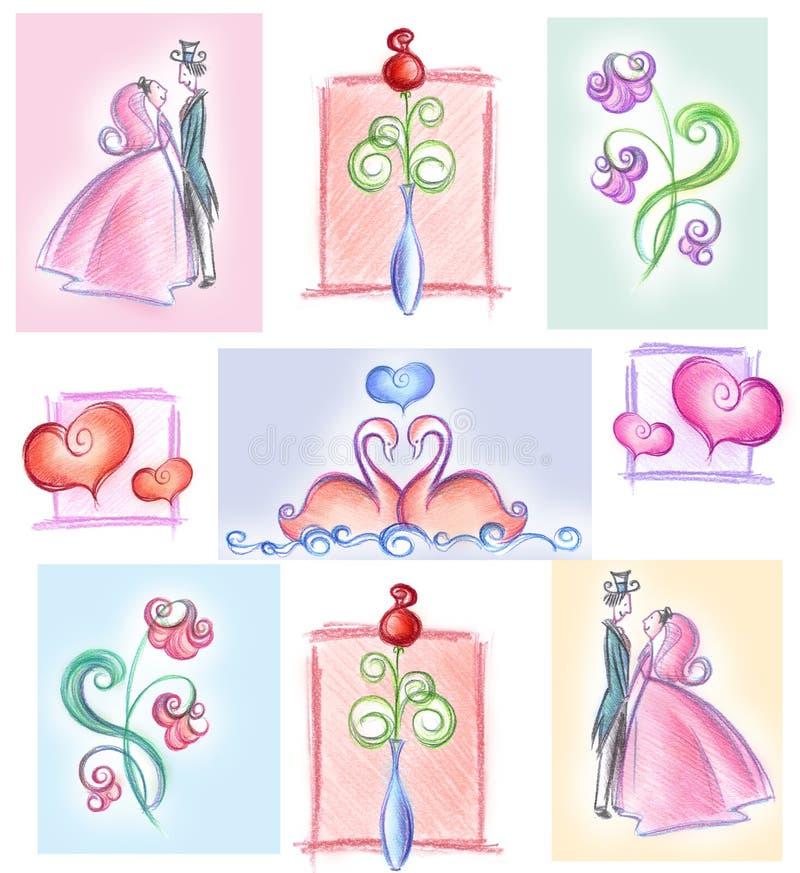 Collage di cerimonia nuziale royalty illustrazione gratis