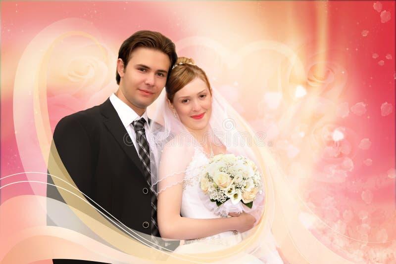 Collage di colore rosa delle coppie di cerimonia nuziale fotografia stock libera da diritti