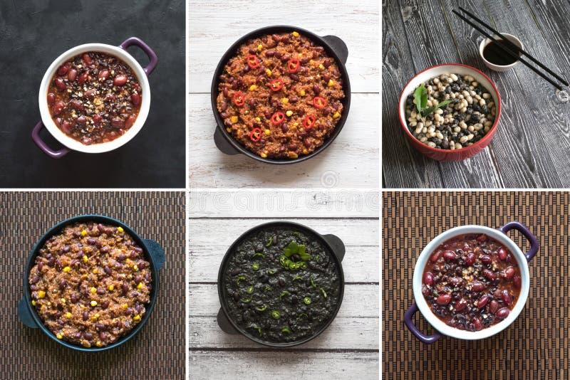 Collage di cucina del mondo con i fagioli fotografia stock