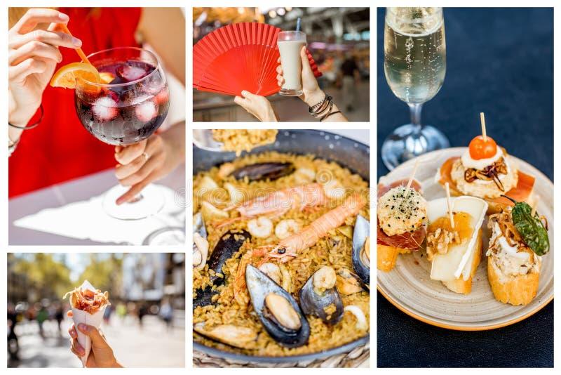 Collage di cucina tradizionale spagnola fotografie stock libere da diritti