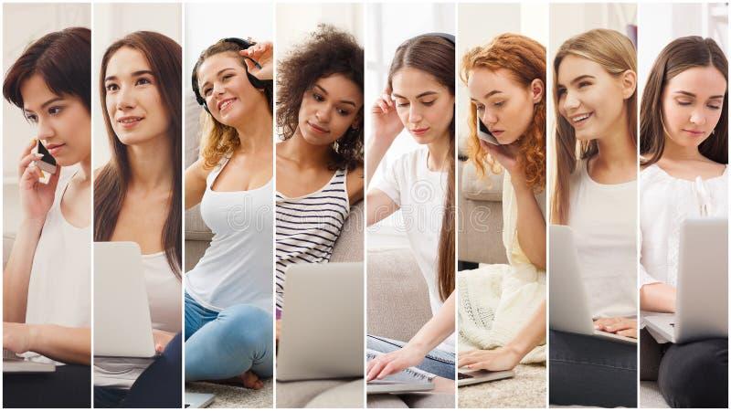 Collage di diverse donne che parlano sul cellulare immagini stock