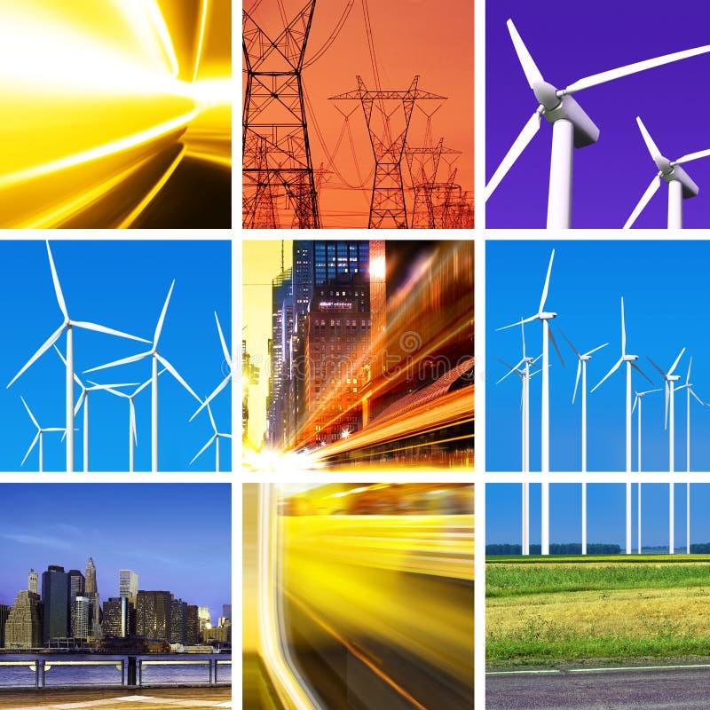 Collage di energia elettrica fotografia stock
