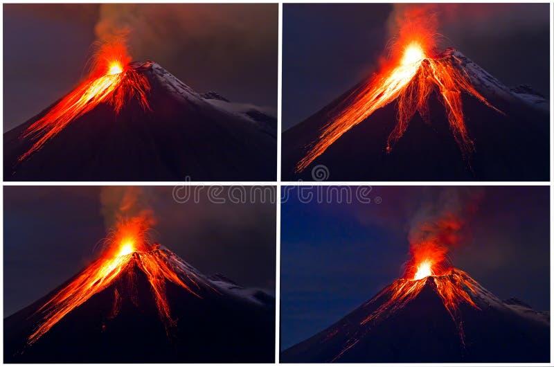 Collage di eruzione del vulcano di Tungurahua fotografia stock libera da diritti
