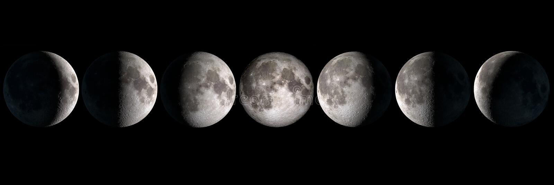 Collage di fasi lunari fotografie stock