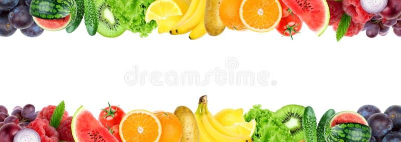 Collage di frutta mista e della verdura Frutta e verdure fresche di colore immagine stock
