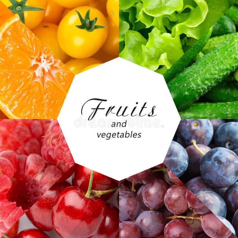 Collage di frutta mista e della verdura fotografia stock libera da diritti