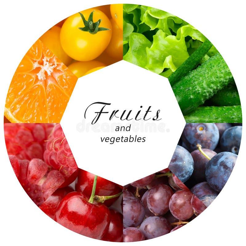 Collage di frutta mista e della verdura fotografie stock