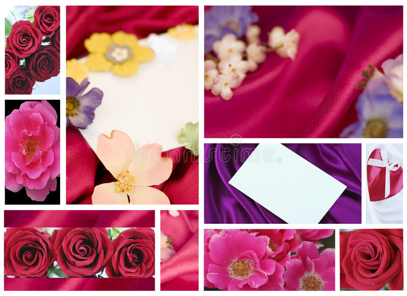 Collage di giorno della madre o del biglietto di S. Valentino fotografia stock