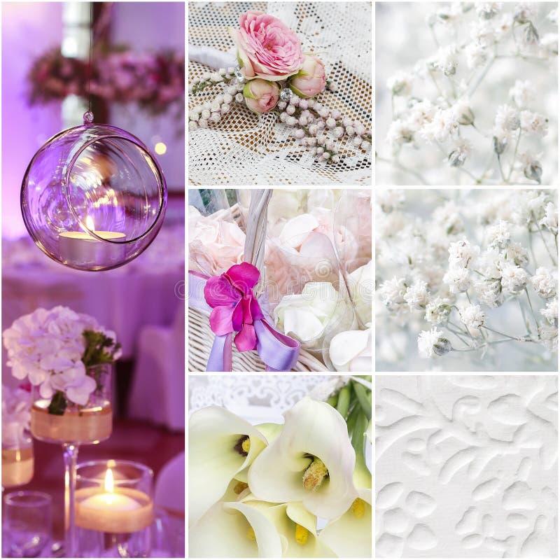Collage di giorno delle nozze fotografia stock
