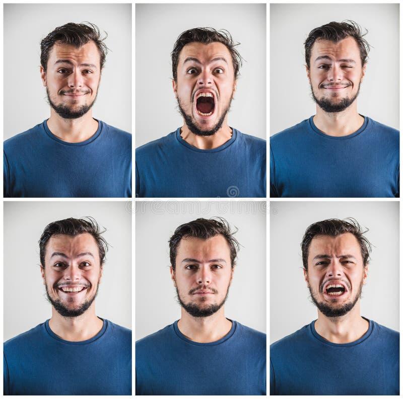 Collage di giovani espressioni alla moda dell'uomo fotografia stock libera da diritti