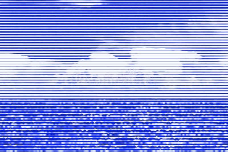 Collage di immagine della superficie dell'acqua del mare di giorno e chiaramente blu illustrazione vettoriale