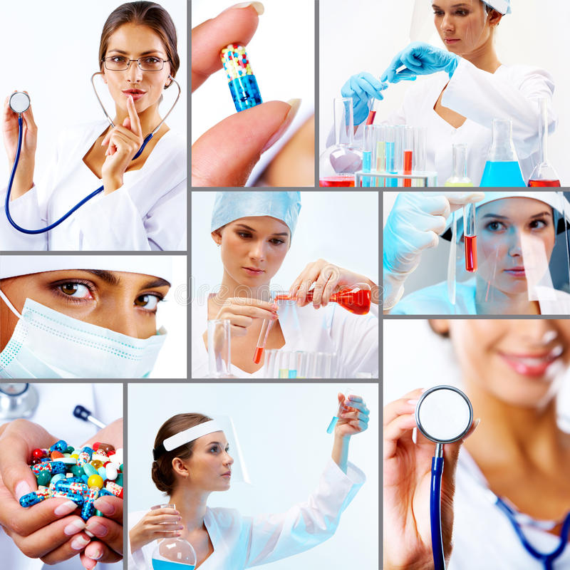 Collage di medicina fotografie stock