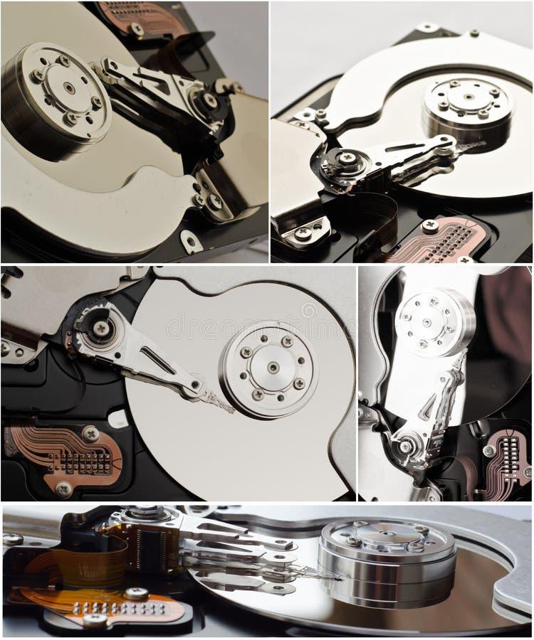 Collage di memoria del disco rigido fotografie stock libere da diritti