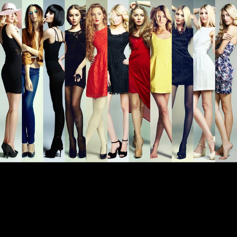 Collage di modo Gruppo di belle giovani donne immagine stock libera da diritti