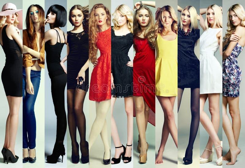 Collage di modo Gruppo di belle giovani donne fotografia stock