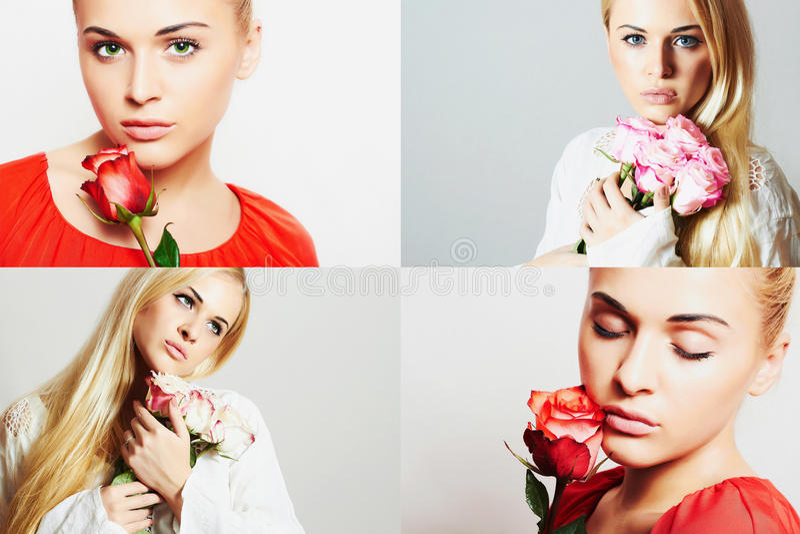 Collage di modo Gruppo di belle giovani donne Ragazze sensuali con i fiori La bella donna bionda con è aumentato ragazze e rose fotografia stock
