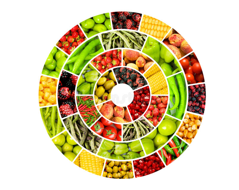 Collage di molte frutta e verdure royalty illustrazione gratis