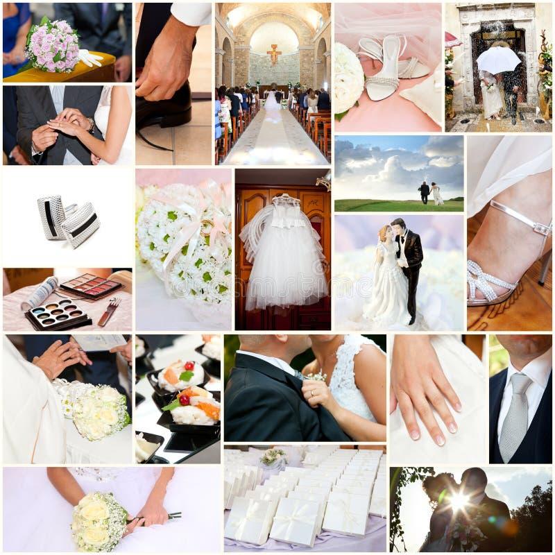 Collage di nozze immagini stock
